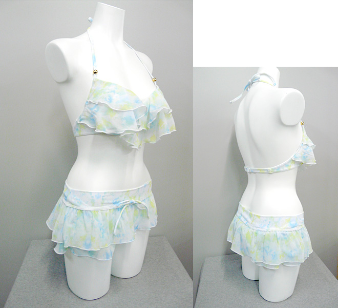 縫製工場 ミヤモリ OEM生産事例 ビキニ ワイヤー・2段フリル仕様 レディスファッション水着